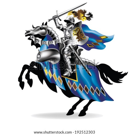 knight with sword on horse on