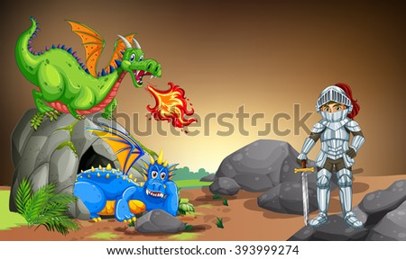knight with two dragons in the