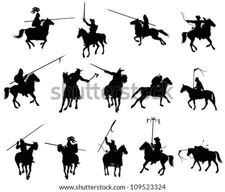 Stock Photo Knights and medieval warriors on horseback detailed silhouettes set. Vector