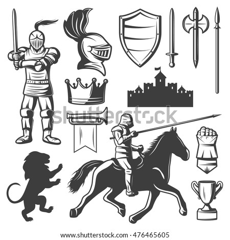 knights monochrome elements set