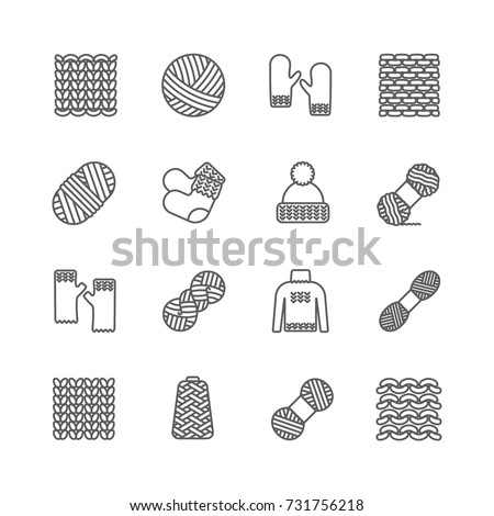 Knit icon set. Yarn, knittind clothes, knitted samples thin line sign. Hat, mittens, socks, sweater and other hand-knitted garments.