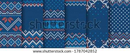 Knit print. Christmas seamless pattern. Vector. Blue knitted sweater texture. Set Xmas winter geometric background. Holiday fair isle traditional ornaments. Wool pullover illustration. Festive crochet