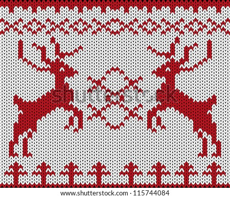 Knitted background with Christmas deers
