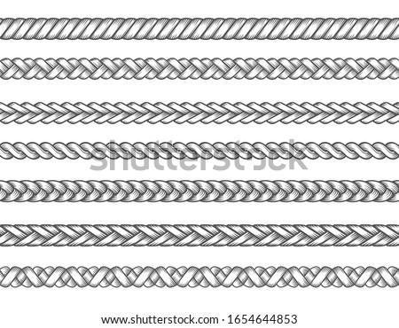 Knitted braids. Fashion textil braid set vector illustration, braids patterns, seamless braided thread lines, knitting ropes vector illustration Stock photo ©