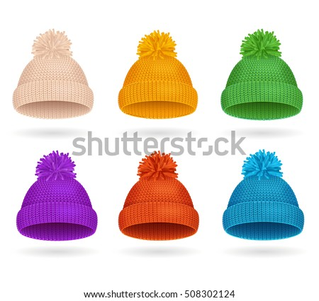 8db078afbc29 Knitted Color Hat Winter Set Fashion Accessory. Vector illustration of sport  ski snowboarding cap