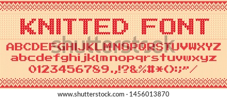 Knitted font. Christmas ugly sweater, knit letters and folk sweaters xmas text template. Handicraft letter for winter xmas sweater, knitting norway textile typeface. Vector illustration symbols set