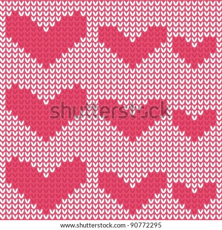 knitted hearts seamless pattern