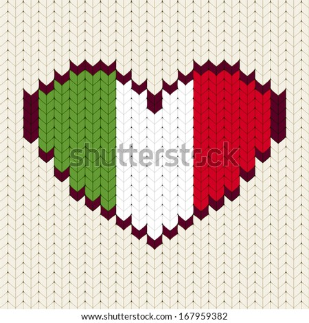 knitted pattern italy flag