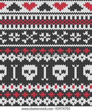 Knitted pattern with skulls