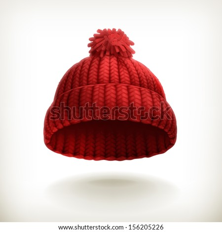 Knitted red cap, vector illustration