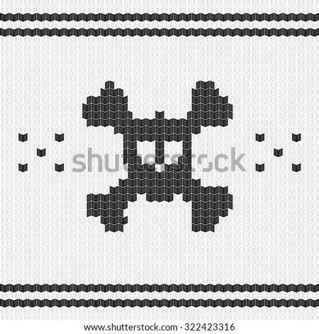 knitted skull with bones