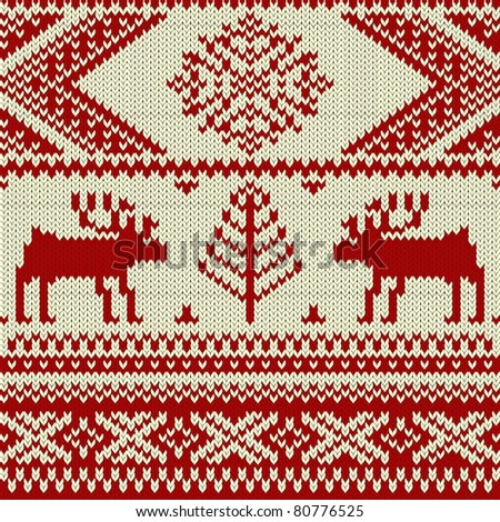 Knitted swatch with deers and snowflakes pattern