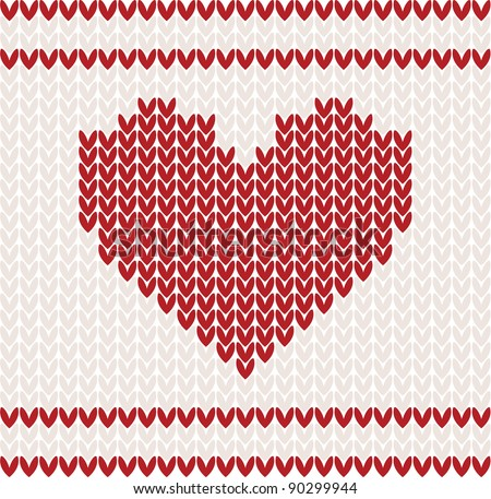 Knitted vector pattern with red heart. Christmas concept for banner, placard, billboard or web site. New Year retro greeting card and background. Image for invitation