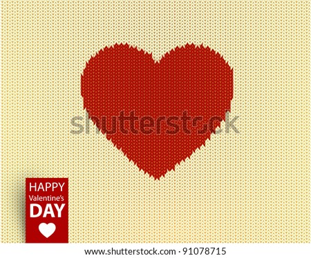 knitted vector pattern with red