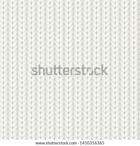 Knitted vector seamless pattern. White merino wool knit texture. Realistic warm and cozy handmade knitting background. Сток-фото ©
