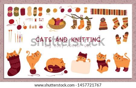 knitting and pets flat vector