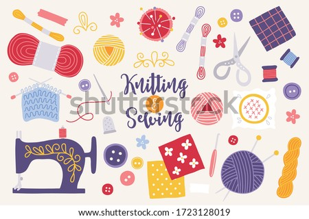 Knitting and sewing set with needles, yarn, sewing machine, scissors, buttons, spools, threads, flowers isolated on light background. Needlework concept. Cartoon style, colorful vector elements