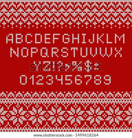 Knitting font. Alphabet and norwegian ornaments for Christmas or winter season. White letters and traditional scandinavian sweater patterns on red knit background. ABC and numbers vector illustration.