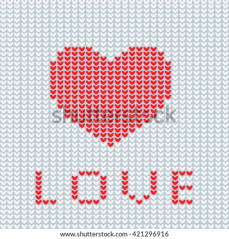Knitting Is Love. Knitted Heart Symbol. Modern Vector ...