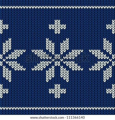 Knitting Snowflake Pattern : Knitting Pattern With A Snowflakes Stock Vector Illustration 111366140 : Shut...