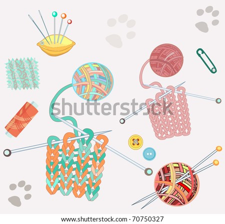 Knitting set stuff and cat footprints