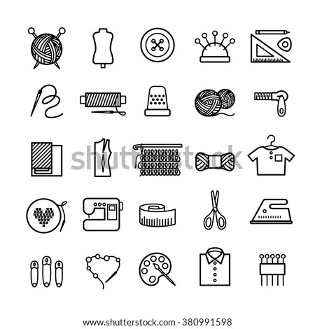 Shutterstock Knitting, sewing and needlework line icons. Knitting items, sewing equipment and needlework elements