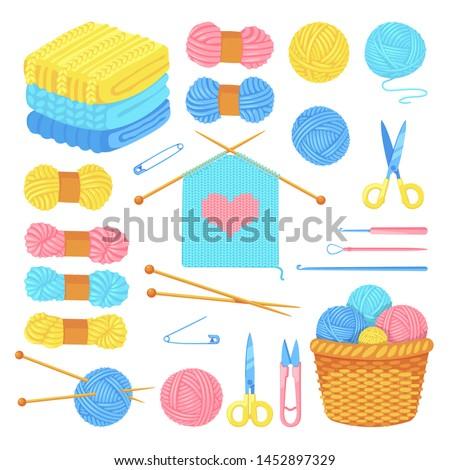Knitting tools and wool yarn set, isolated on white background. Vector craft and handmade needlework design elements. Fashion hobby flat cartoon icons.