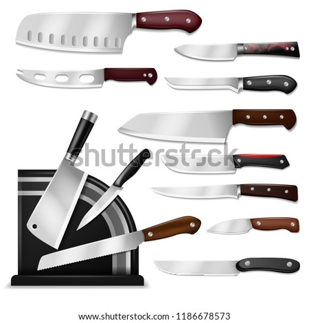 Knives vector butcher meat knife set chef cutting with kitchen drawknife or cleaver and sharp knifepoint illustration isolated on white background