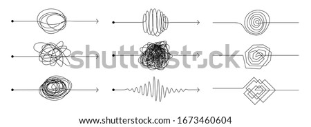 Knot arrow line. Doodle chaos mindset, mess concept with freehand scrawl sketch, set of black scribble. Vector hand drawn difficult thought process with concept arrows tangle paths Foto d'archivio ©