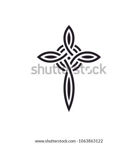 Knot Celtic Christian Catholic Cross Church Jesus logo design inspiration Stock photo ©