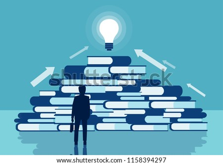 Knowledge and business education concept. Vector of a businessman standing in front of a pile of books. Reading for self realization career development