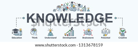Knowledge banner web icon for lesson and presentation. Education, Think, Study, creative, development, brainstorm and potential. Minimal vector infographic.