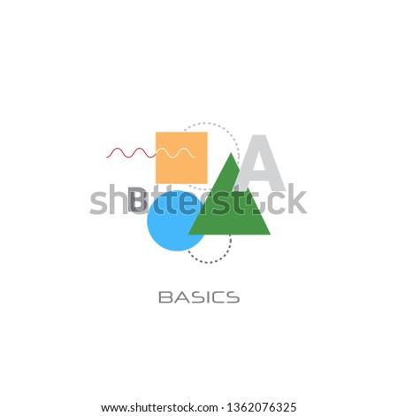 knowledge learning education math basic shapes basics concept line style white background