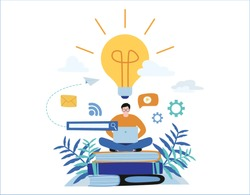 knowledge online. illustration vector.distance education concept. video tutorial, training courses.man laying on books and textbooks while surfing internet with a laptop for ideas.