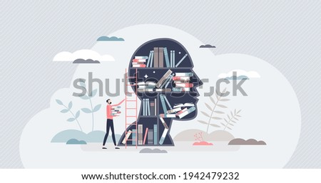 Knowledge or education as intelligence mind experience tiny person concept. Information base as book library in head vector illustration. Brain and mind training with smart literature reading or study