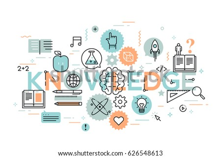 Knowledge, science, school and university education and teaching concept. Creative infographic banner with modern lettering and elements in thin line style. Vector illustration for brochure, header.