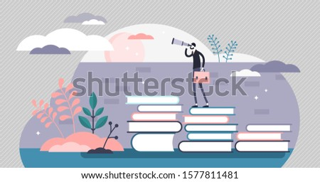 Knowledge vector illustration. Smart wisdom persons in flat tiny concept. Wider and far reaching vision from learning and reading books in academic education. Sharp mind and powerful intellect scene. Foto d'archivio ©