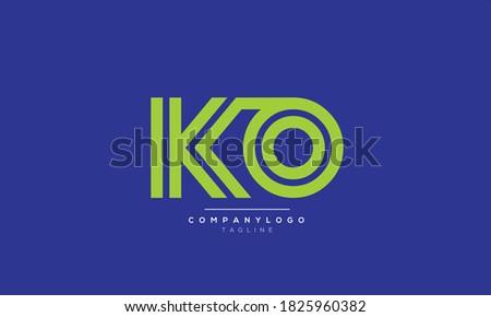 KO abstract initials monogram letter text alphabet logo design Zdjęcia stock ©