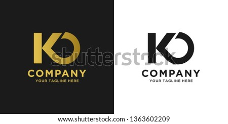 KO elegant logo template in gold color, vector file .eps 10, text and color is easy to edit Zdjęcia stock ©