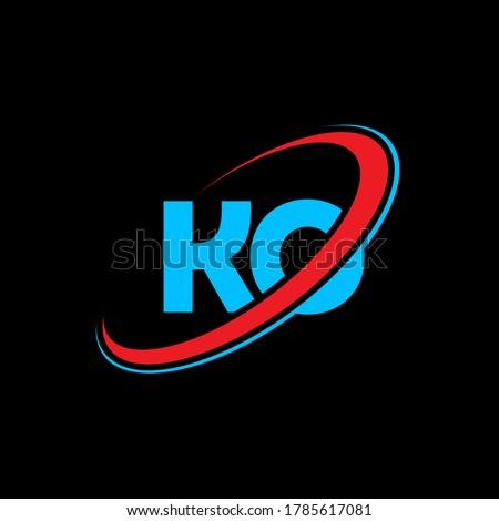 KO K O letter logo design. Initial letter KO linked circle uppercase monogram logo red and blue. KO logo, K O design. ko, k o Zdjęcia stock ©