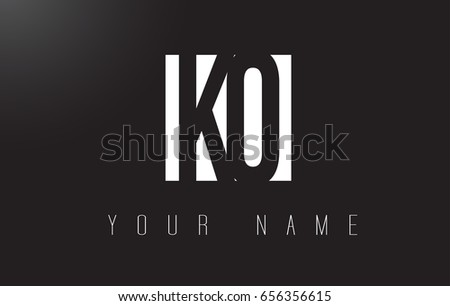 KO Letter Logo With Black and White Letters Negative Space Design.
