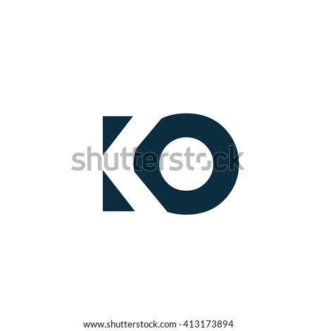 KO Logo. Vector Graphic Branding Letter Element. White Background