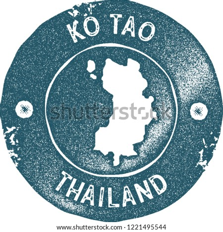 Ko Tao map vintage stamp. Retro style handmade label, badge or element for travel souvenirs. Blue rubber stamp with island map silhouette. Vector illustration.