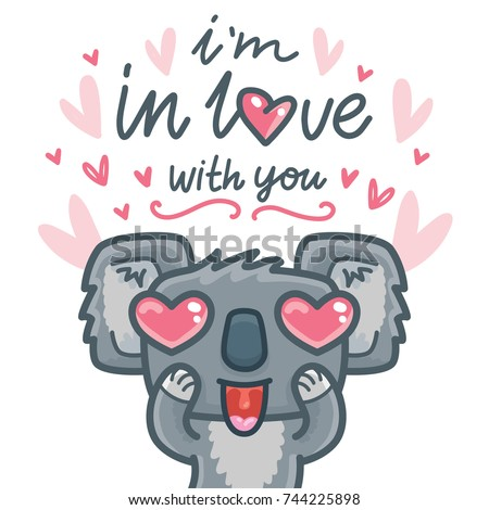 Koala bear character in love with hearts and lettering calligraphy text. I'm in love with you. Hand drawn illustration in cartoon style for greeting card, poster, banner, print, invitation