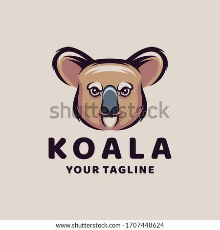 koala cartoon logo design vector