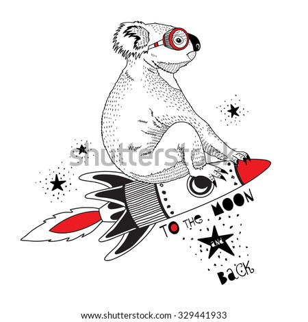 koala flying on the rocket to
