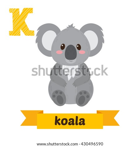koala k letter cute children