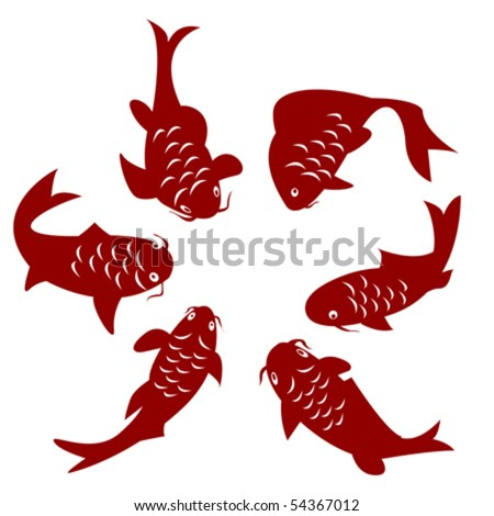 stock vector Koi carp silhouettes over white background