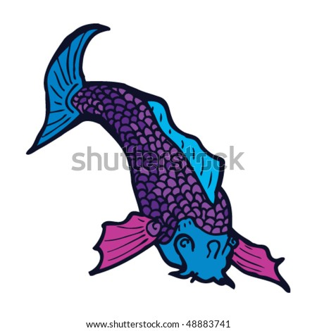 stock vector : koi carp tattoo drawing