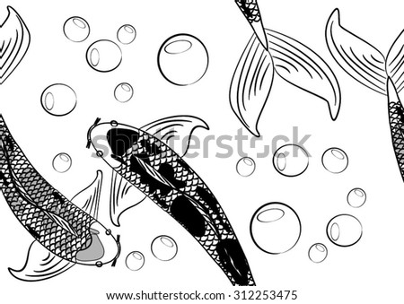 Koi chinese carp seamless pattern vector background